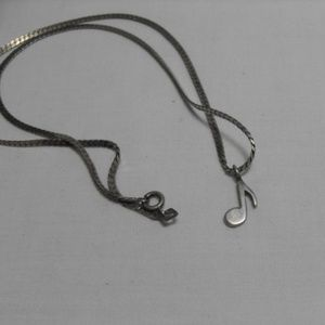 Vintage Stamped Sterling Jewelry - Sterling Music note necklace, 8th note pendant